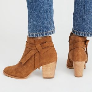 Free people vegan brown suede bow ankle boots 8